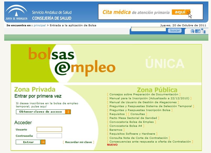 Bolsa de empleo del servicio andaluz de salud for Servicio de empleo